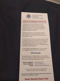 TSAの通知