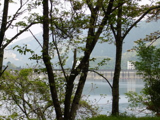 木々の向こうに見えるのはダム?