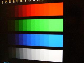 テストスイッチを押してカラーテストを表示