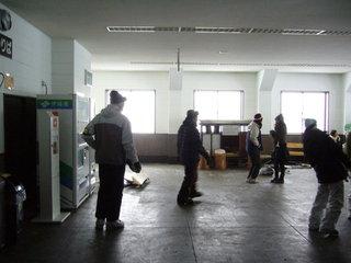 ロープウェイ終点の待合室